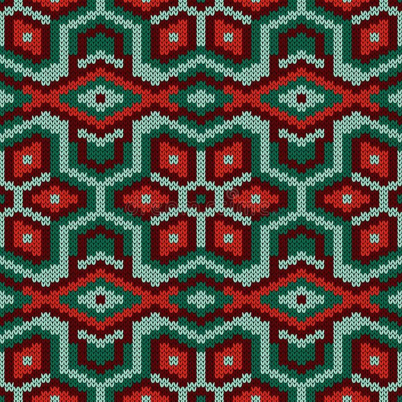 Geometrical bezszwowy trykotowy dekoracyjny wzór ilustracja wektor