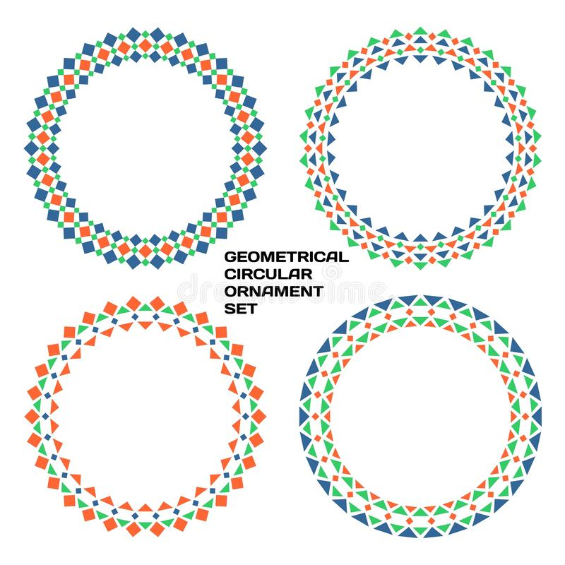 Geometrical circular ornament set royalty free illustration