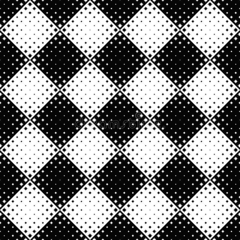 Geometrical czarny i biały gwiazdowego wzoru tło ilustracja wektor