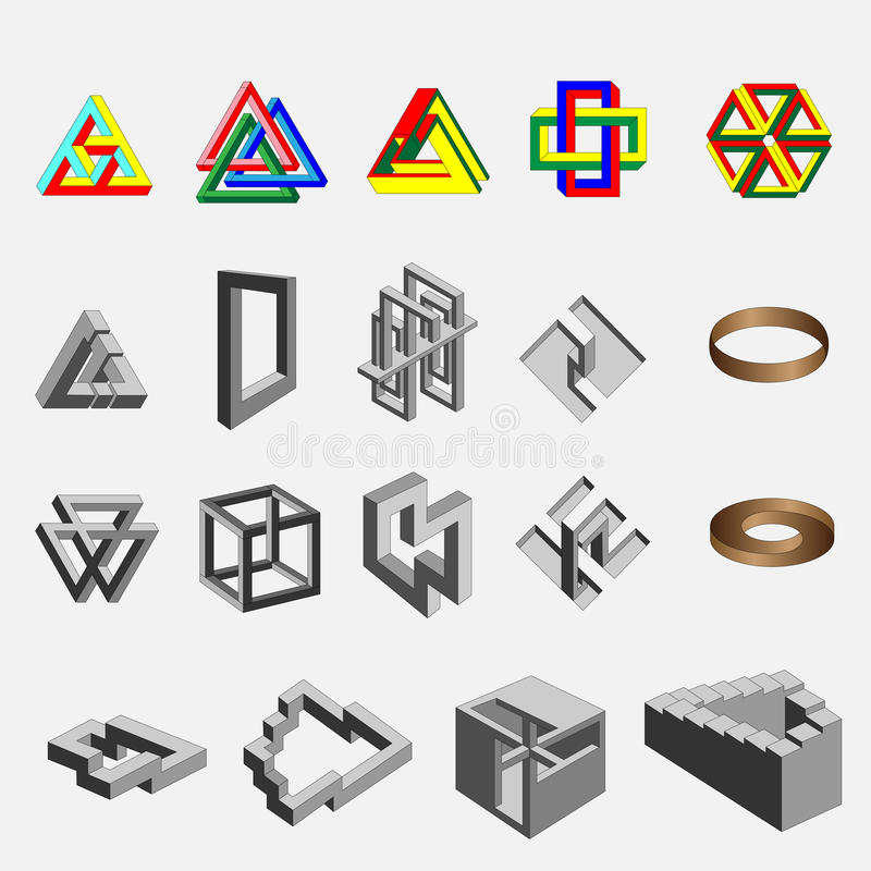 Geometrical impossible objects royalty free illustration