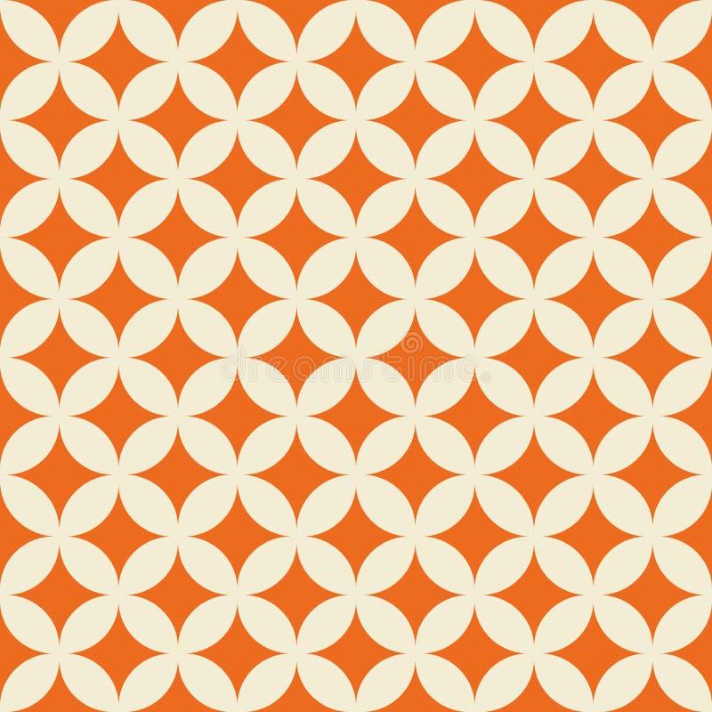 Geometrical kształta ecru biały retro wzór na pomarańczowej tło wektoru ilustracji royalty ilustracja