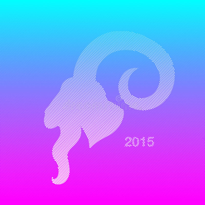 Geometrical Line Goat. Line Goat in Geometrical Style on Bright Blue-Purple Background- Symbol of 2015 on the Chinese Calendar vector illustration