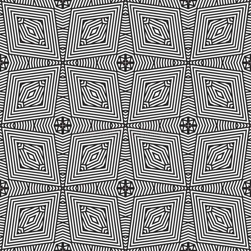 Geometrical lines double imposed seamless background pattern illustration in black n white royalty free stock photos