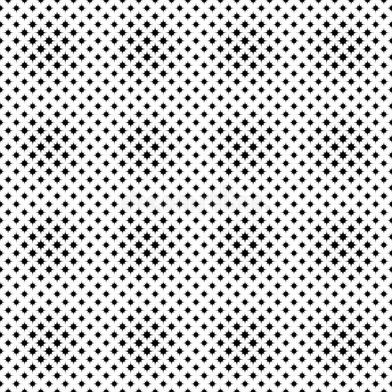 Geometrical monochromatyczny bezszwowy wyginający się gwiazdowego wzoru tła projekt royalty ilustracja