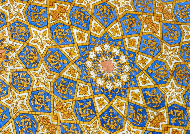 The geometrical mosaic design. The colors of the Samarkand, Uzbekistan stock photo