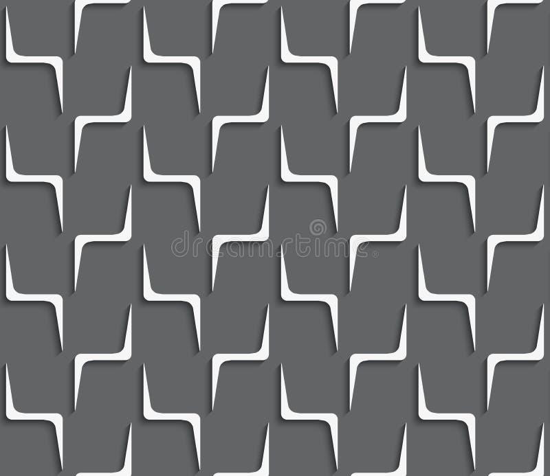 Geometrical ornament with white zig-zag shapes on dark gray stock illustration