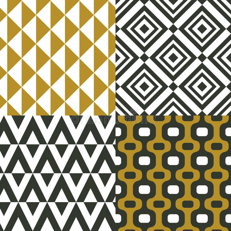Geometrical ornaments. Seamless patterns. Vector set of backgrounds. royalty free illustration