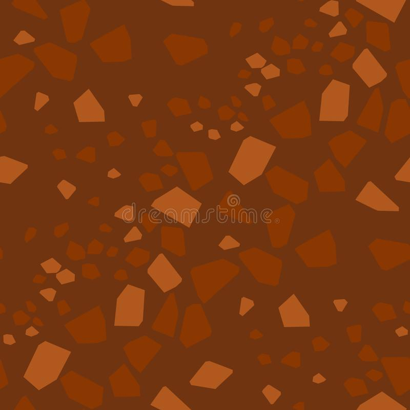 Geometrical particles flat seamless pattern. Abstract broken glass pieces hand drawn texture. Brown background with low poly patchwork. Textile, wallpaper royalty free illustration