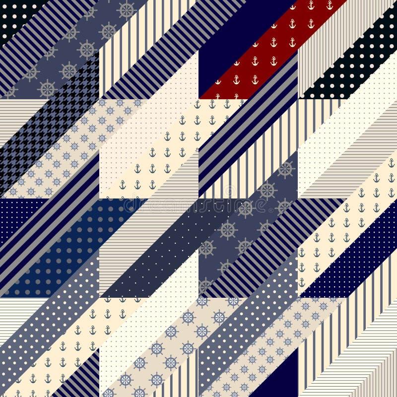 Geometrical patchwork pattern. Seamless background pattern. Geometrical Hounds-tooth pattern in a patchwork style stock illustration