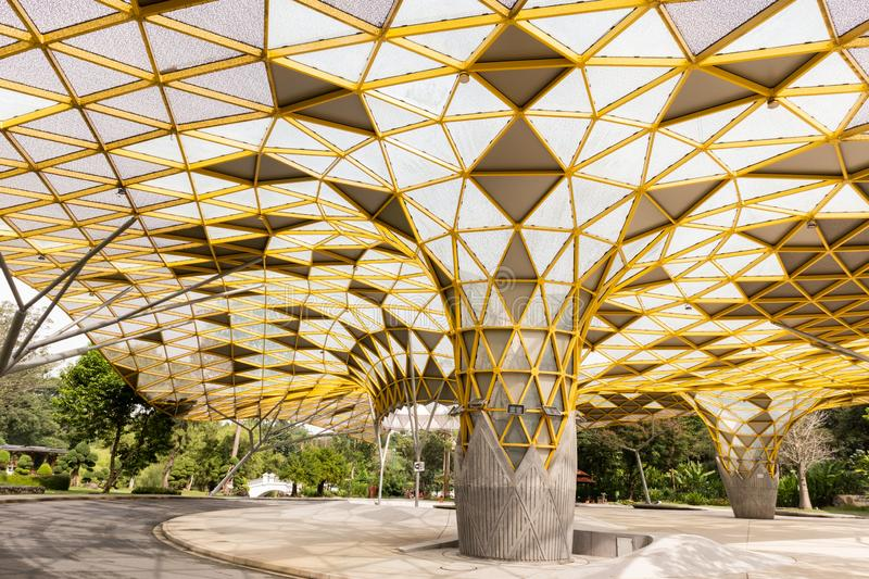 Geometrical Pattern of the pavilion in the Perdana Botanical Park, Kuala Lumpur stock photo
