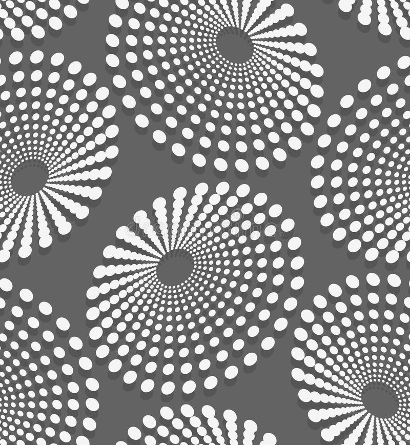 Geometrical pattern with white dotted concentric ovals stock illustration