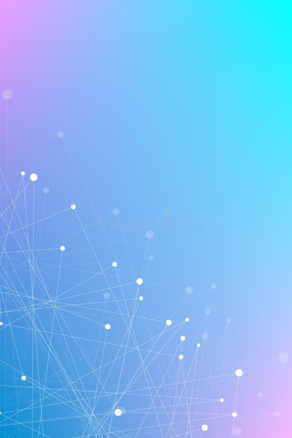 Geometrical purpurowy błękitny pionowo tło latający trójboki Związani trójboki plexus Tło dla twój projekta Wektorowa bolączka royalty ilustracja