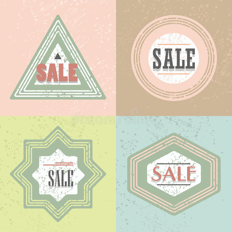 Geometrical retro SALE emblem and stickers icons set stock illustration