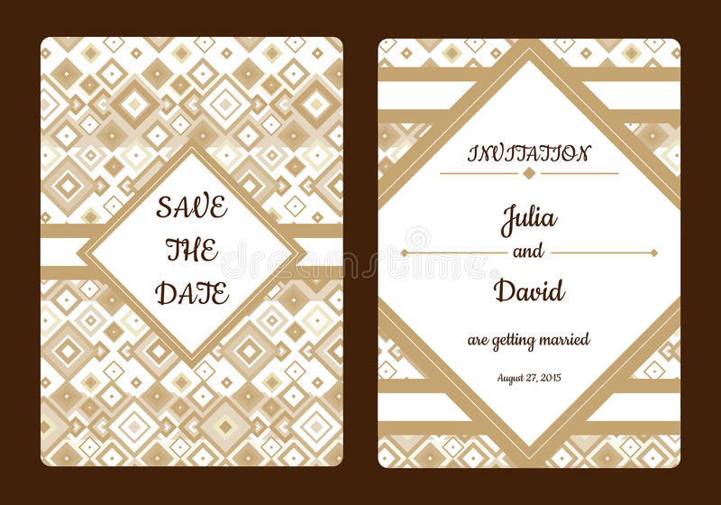 Geometrical Save The Date Or Wedding Invitation Card Vintage Vector