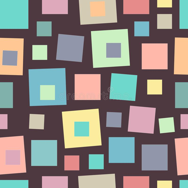 Geometrical seamless pattern with various multicolored square shapes in pastel colors. Colorful vintage mosaic, dark background. stock illustration