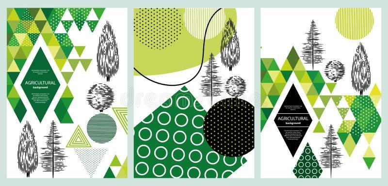 geometrical sk?ad Może używać dla pokryw, ulotki, sztandary Tła z różnymi drzewami w skandynawa stylu ilustracja wektor