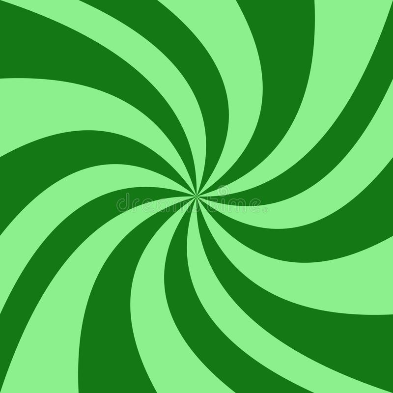 Geometrical spiral background - vector illustration from green swirling rays royalty free illustration