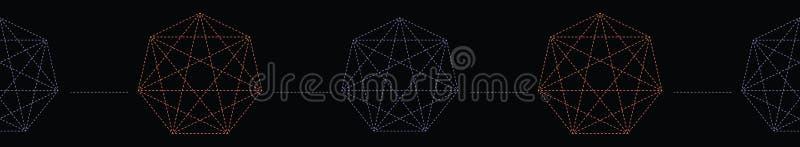 Geometrical symbol shape. Seamless repeating vector border. Glowing dark purple green light. Black esoteric banner ribbon. Spiritual concept. Sacred geometry royalty free illustration