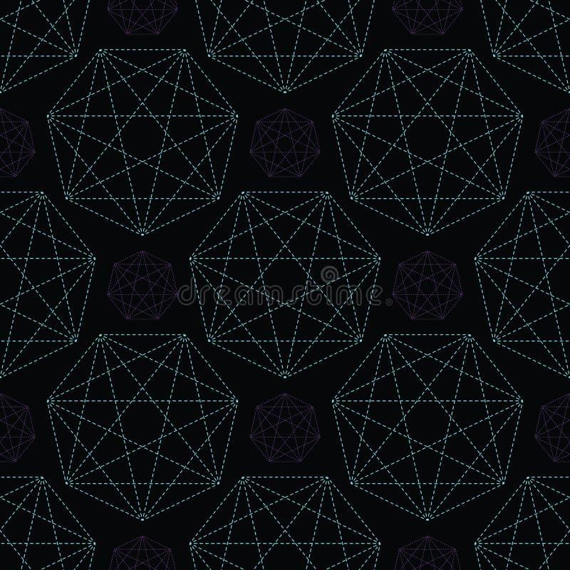 Geometrical symbol shape. Seamless repeating vector pattern. Glowing dark purple green light on black esoteric background. Spiritual concept. Sacred geometry royalty free illustration