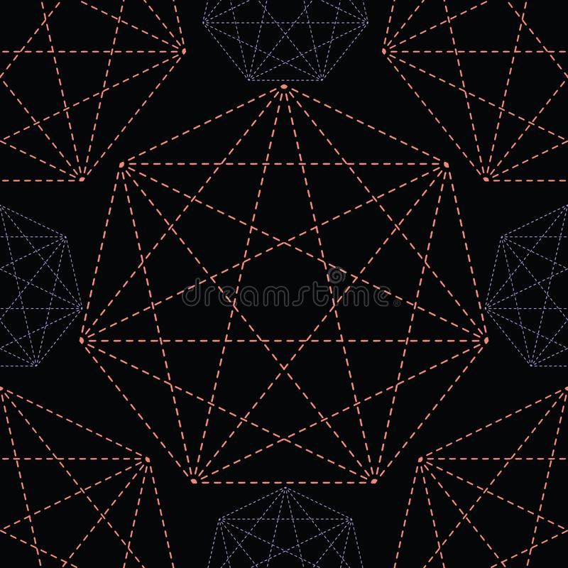 Geometrical symbol shape. Seamless repeating vector pattern. Glowing dark coral purple light on black esoteric background. Spiritual concept. Sacred geometry vector illustration