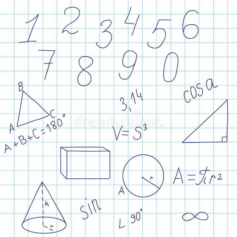Geometrical tło z postaciami i formułami ilustracja wektor