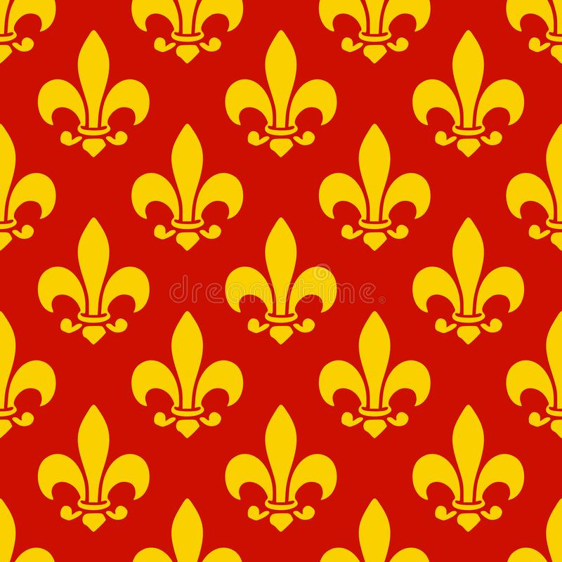 Geometrical yellow Lily flower seamless pattern vector illustration red background royalty free illustration