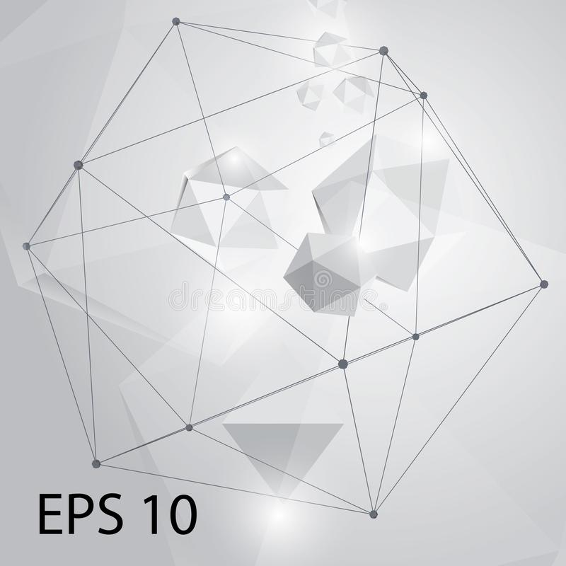 Geometrico astratto Molecola grigia geometrica e comunicazione del fondo Linee collegate con i punti Vettore Illustratio fotografia stock