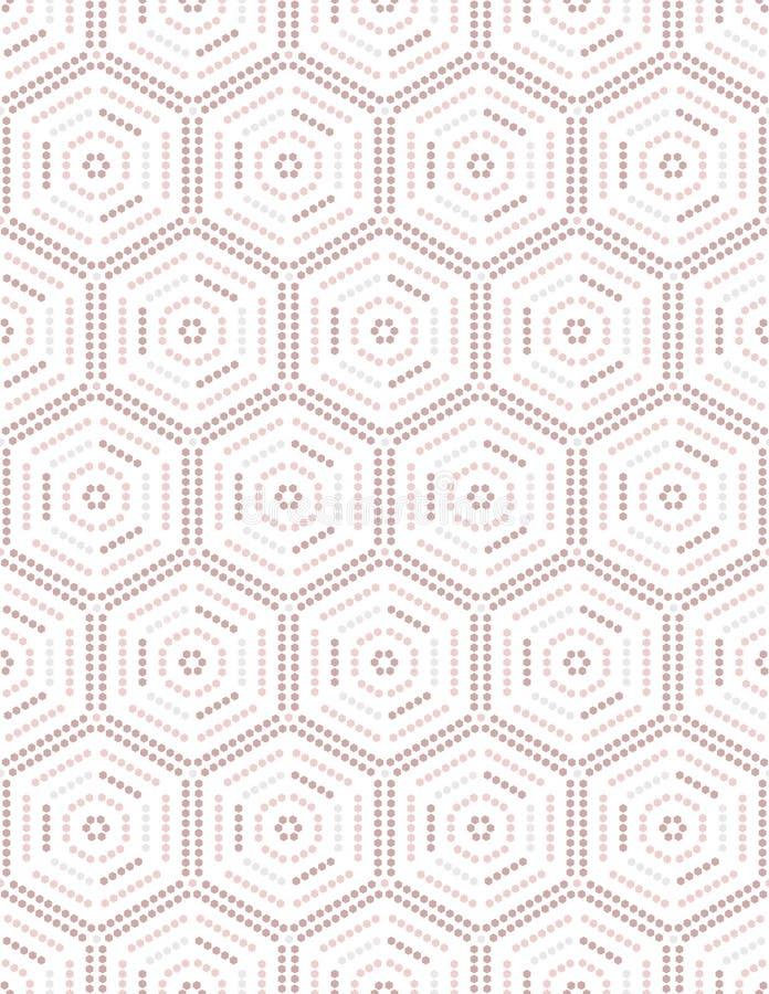 Geometrico da ogni parte del modello senza cuciture punteggiato rosa di esagoni con fondo bianco royalty illustrazione gratis