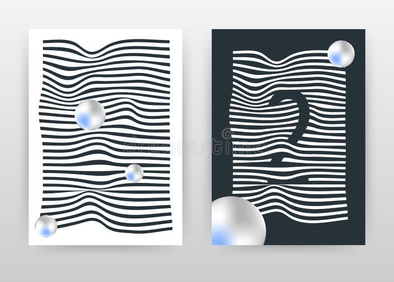Geometrico ondeggiando le linee bianche e nere progettazione di affari per il rapporto annuale, opuscolo, aletta di filatoio, man illustrazione di stock