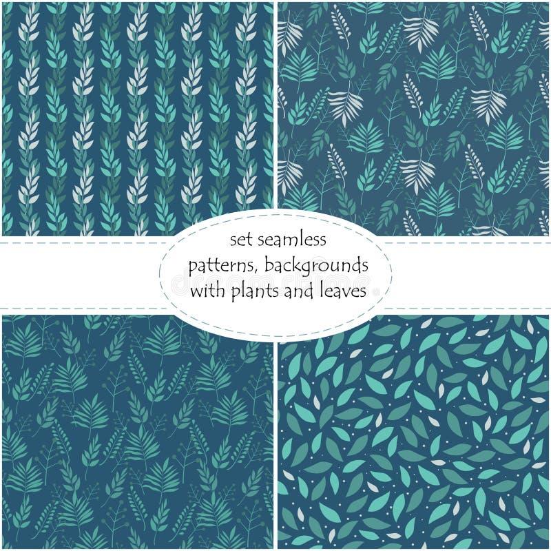 Geometrico posizionato su un fondo blu scuro, fondo senza cuciture, struttura, illustrazione delle foglie verdi di vettore royalty illustrazione gratis