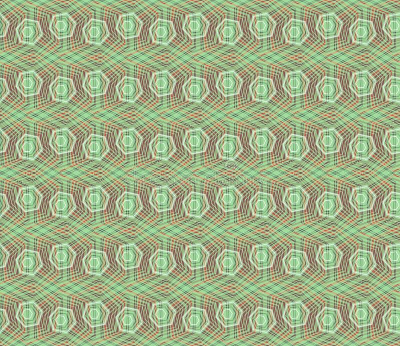 Geometrie-Hexagonmuster des Konzeptes modernes mit grüner Farbe geometrisches nahtloses Muster in der digitalen Art für Packpapie stock abbildung