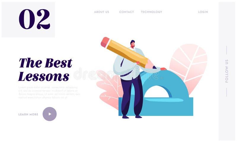 Geometrie oder zeichnende Lektions-Website-Landungs-Seite Lehrer Holding Huge Ruler und Bleistift bereiten sich für Leitklasse zu lizenzfreie abbildung