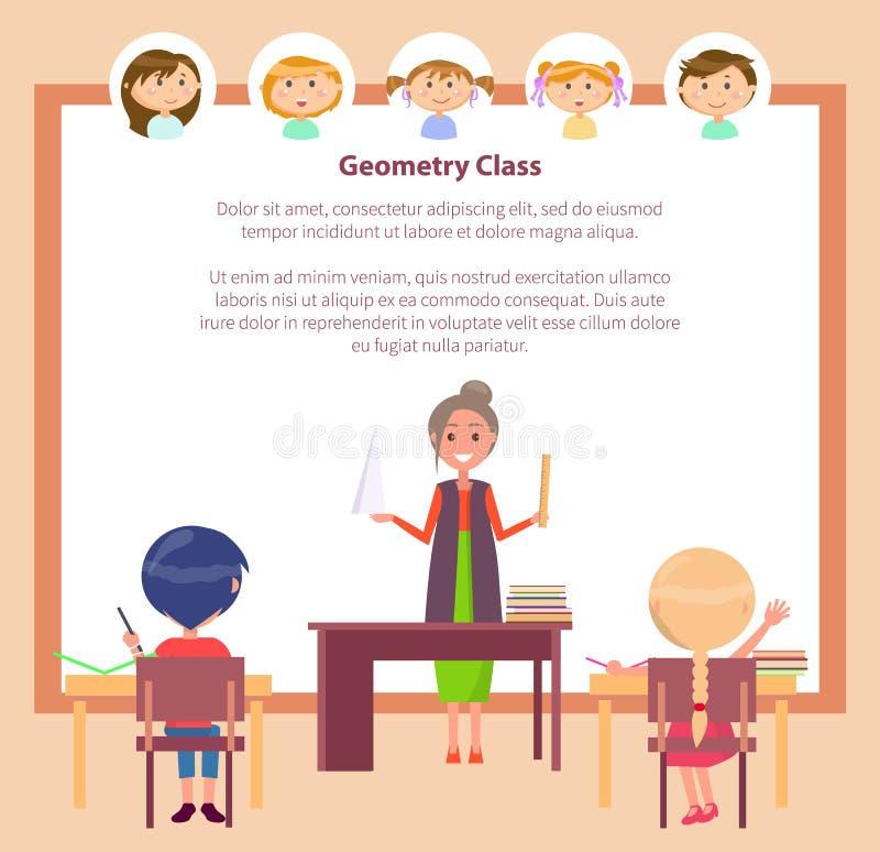 Geometrieklasse, schoolonderwijs, onderwijzend leraar vector illustratie