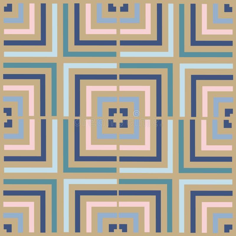 Geometriequadrat-Vektormuster Ethnische nahtlose Verzierung Abstrakter Hintergrund - bunte Linien lizenzfreie abbildung
