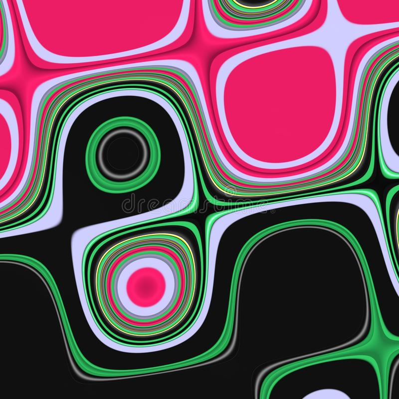 Pink purple green phosphorescent dark shapes, graphics, abstract background. Geometries, shapes in black green purple phosphorescent pink hues. Colors, contrasts stock illustration