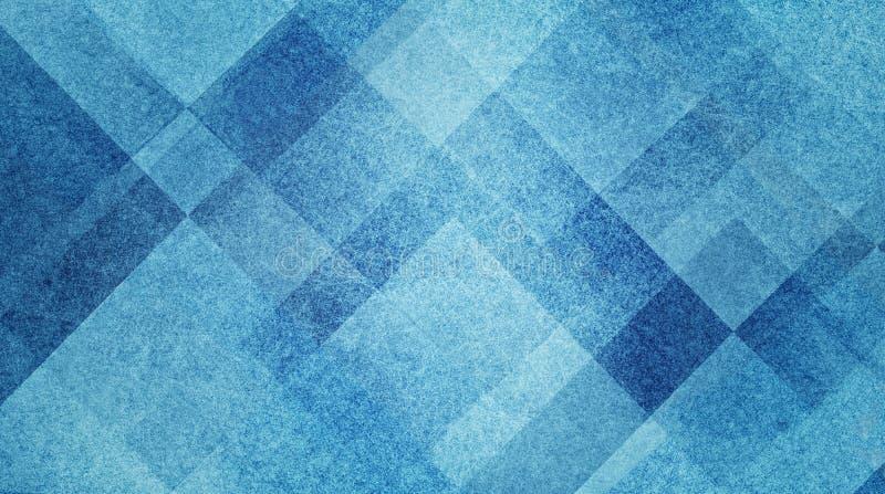 Geometrisch abstract blauw en wit achtergrondpatroonontwerp met diamant en blokvierkanten gelaagd met textuur royalty-vrije illustratie