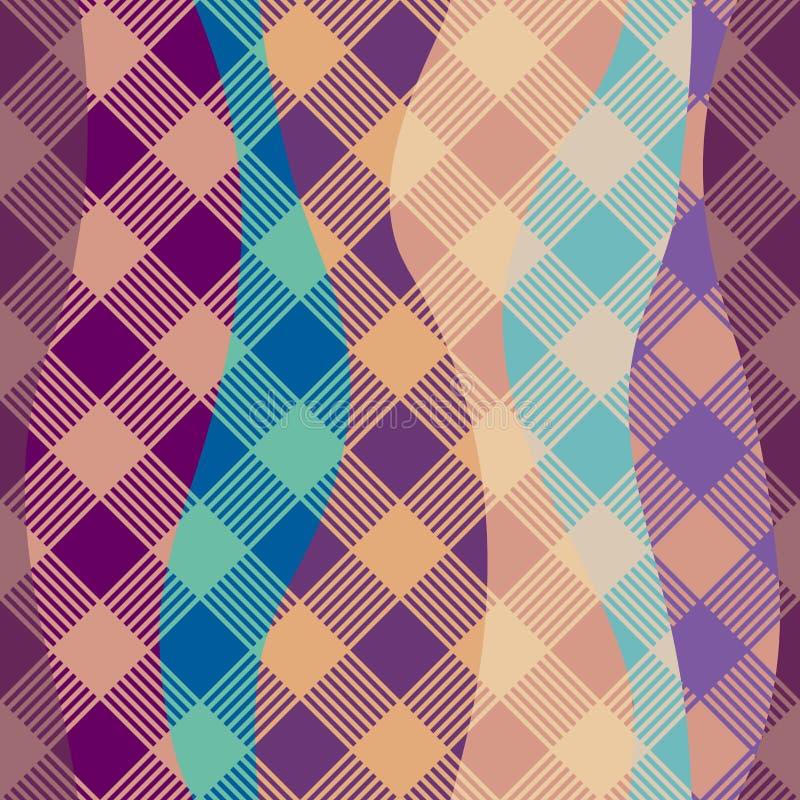 Geometrisch abstract diagonaal plaidpatroon in de lage polystijl van de pixelkunst stock illustratie