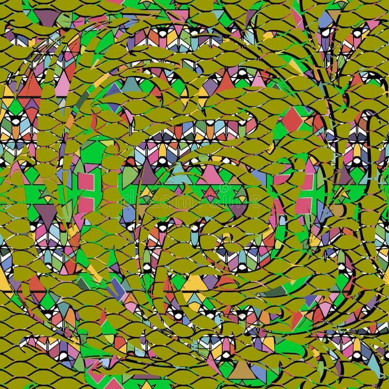 Geometrisch abstract kleurrijk vector naadloos patroon Bloemenorna stock illustratie