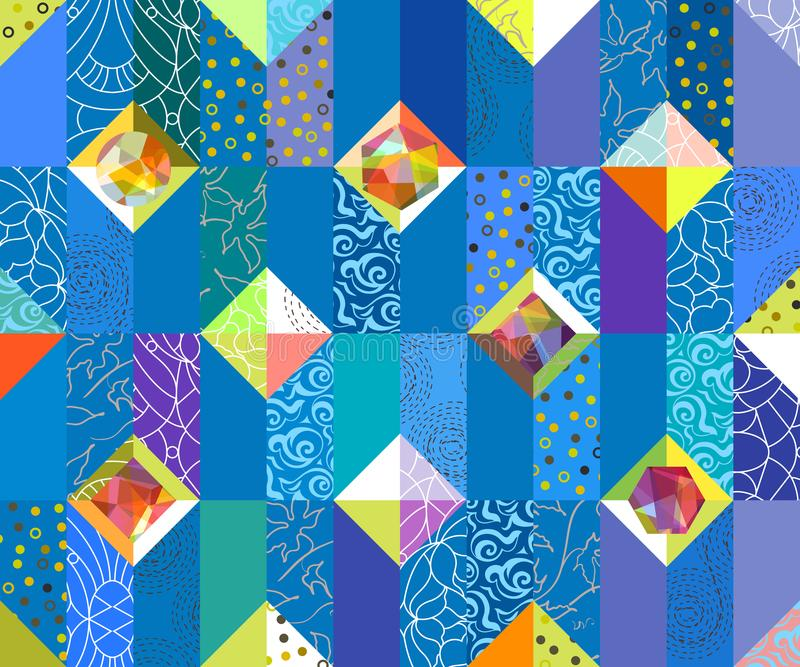 Geometrisch abstract naadloos patroon De achtergrond van het lapwerkmotief stock illustratie