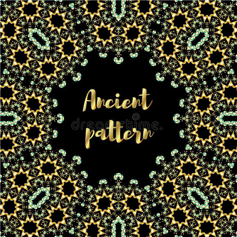 Geometrisch abstract vector naadloos art decopatroon van gouden hand getrokken elementen, Eskimo etnische ornamenten, kanten zig stock illustratie