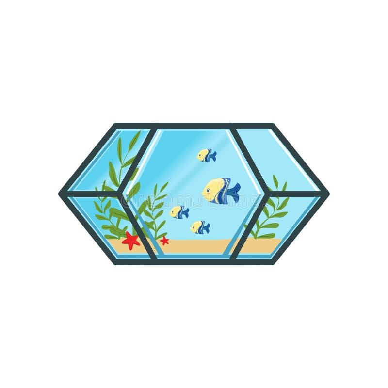 Geometrisch aquarium met kleine vissen, zand, overzeese sterren en groene algen Overzeese Schepselen Koe en stier Vlakke vector stock illustratie