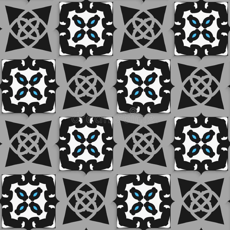 Geometrisch Arabisch ornament zwart-wit met blauw stock illustratie