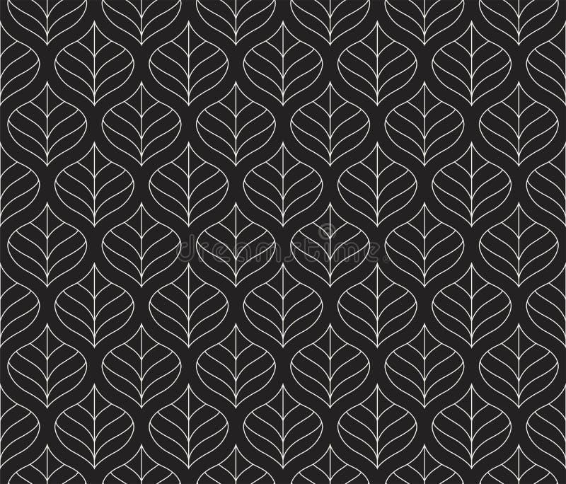 Geometrisch Blad Vector Naadloos Patroon Bloemenillustratieachtergrond vector illustratie
