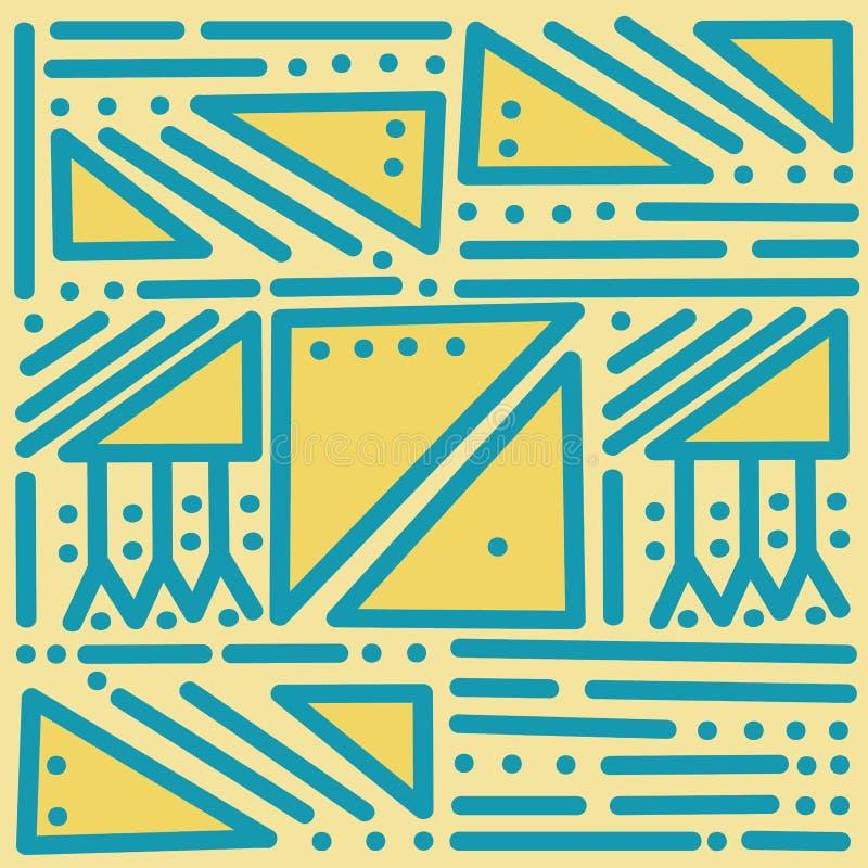 Geometrisch blauw vector naadloos patroon op gele geïsoleerde achtergrond Kleurrijke samenvatting met rechte lijnen, punten, drie royalty-vrije illustratie