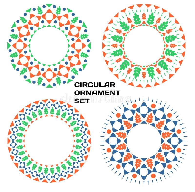 Geometrisch cirkeldieornament met bloemenelementen wordt geplaatst royalty-vrije illustratie
