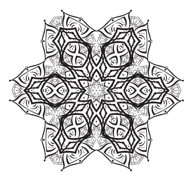 Geometrisch cirkelelement Mandala voor de kaarten, de achtergrond en de plaatsen van de decoratievakantie Caleidoscoop, medaillon royalty-vrije illustratie