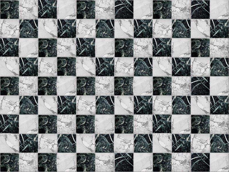 Geometrisch die mozaïek in de vorm van een schaakbord van marmeren steen wordt gemaakt stock fotografie
