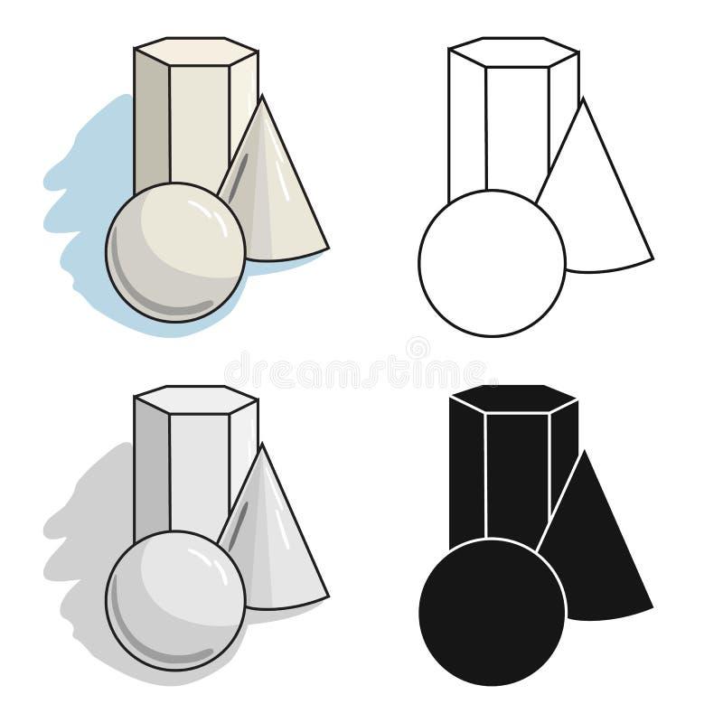 Geometrisch die stillevenpictogram in beeldverhaalstijl op witte achtergrond wordt geïsoleerd Kunstenaar en tekenings de vector v stock illustratie