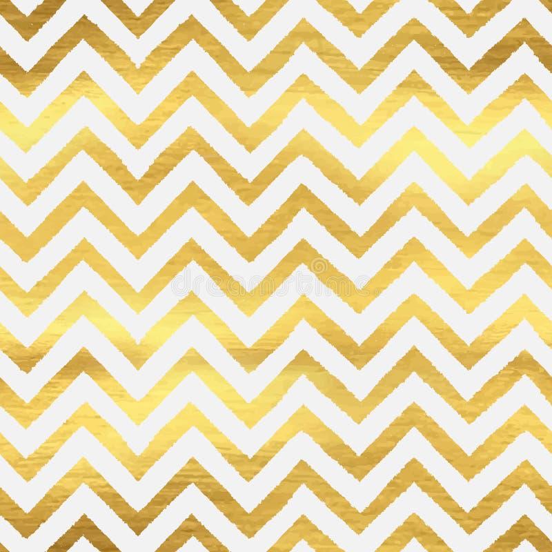 Geometrisch gouden chevron naadloos patroon stock illustratie