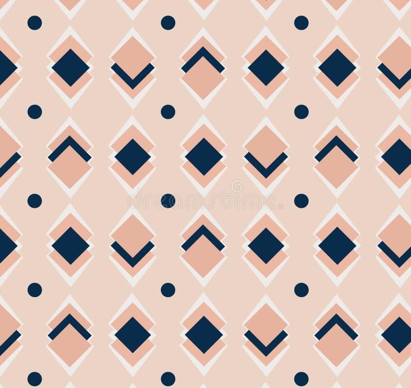 Geometrisch het herhalen vector roze en blauw vierkantenornament met diagonale punten Naadloos abstract modern patroon stock illustratie